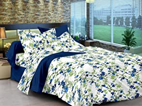 Ahmedabad Cotton Comfort 160 TC Cotton Double Bedsheet with 2 Pillow Covers - Floral, Blue