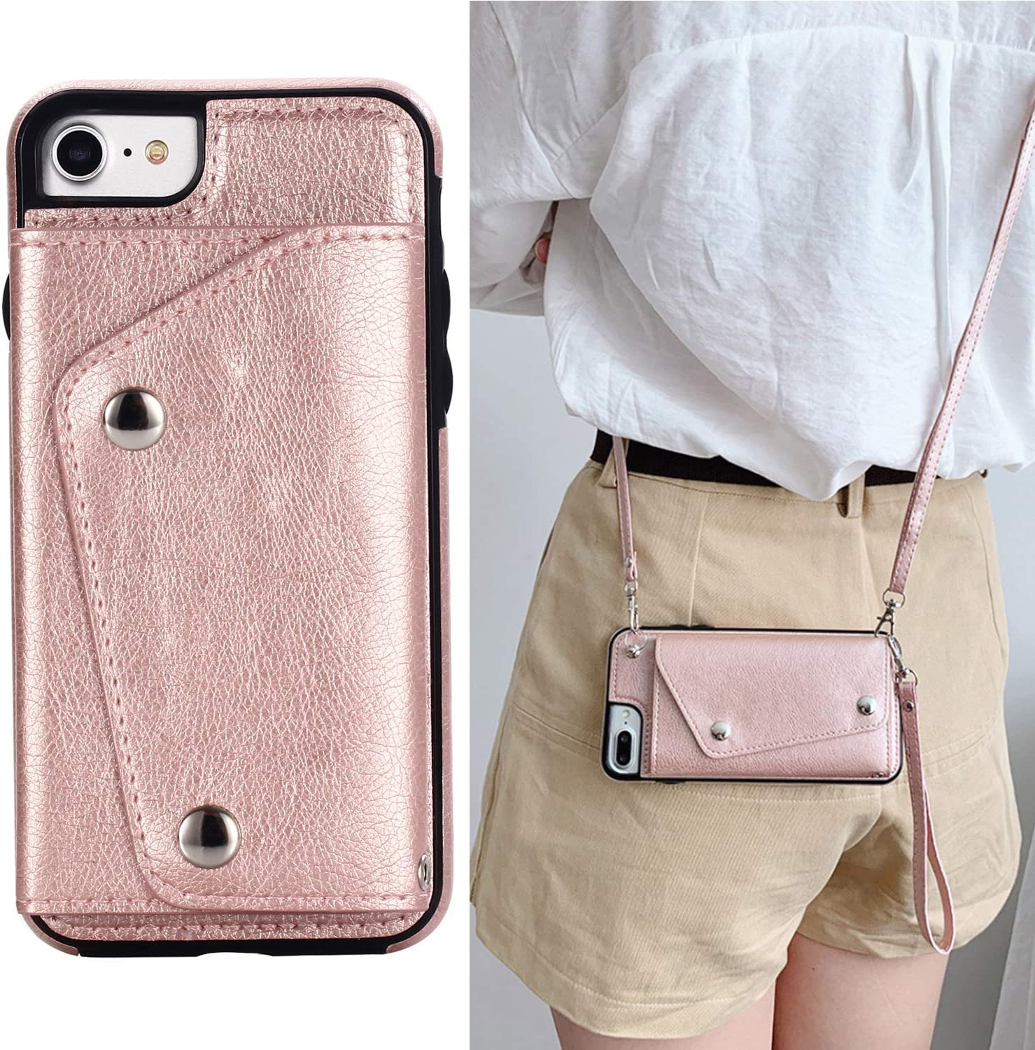 LUVI for iPhone SE/iPhone 8/iPhone 7 Wallet Case with Crossbody Neck Strap Lanyard Handbag Hand Wrist Strap Protective Cover with Credit ID Card Holder Slot PU Leather Case for iPhone SE 2020