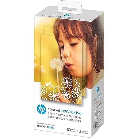 """HP Sprocket Studio Papier photo 4x6 """"(80 feuilles   2 cartouches) Compatible avec HP Sprocket Studio."""