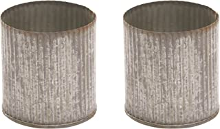 Decorative Tin Vase (Set of 2) 3.25 x 3.25 Inch Corrugated Metal Pot - Small Planter