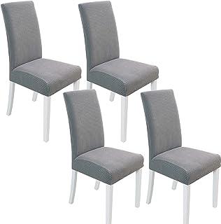 Juego de 4 fundas para sillas gruesas y elásticas, lavables a máquina, para el hogar, comedor, fiesta, hotel, restaurante, decoración (gris claro)