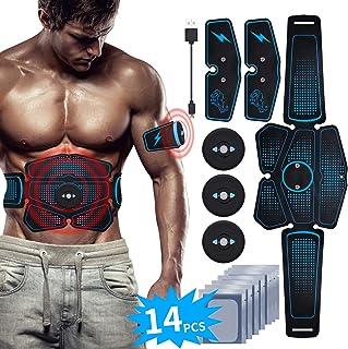 RIRGI Electroestimulador Muscular Abdominales,Electroestimulador Muscular USB Recargable, 6 Modos y 10 Niveles de Intensidad para Abdomen/Cintura/Pierna/Brazo (Incluyendo 14PCS Reemplazo Gel Pad)