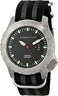 Men's Sports Watch | Torpedo Dive Watch by Momentum | Stainless Steel Watches for Men | Analog Watch with Japanese Movement | Water Resistant (200M/660FT) Classic Watch - Black / 1M-DV74B7S