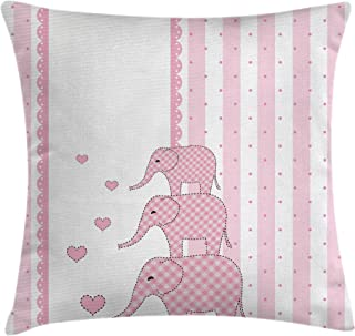 Ambesonne Elephant Nursery Throw Pillow Cushion Cover, Vertical Striped Backdrop with Pink Animals with Hearts Retro, Decorative Square Accent Pillow Case, 18