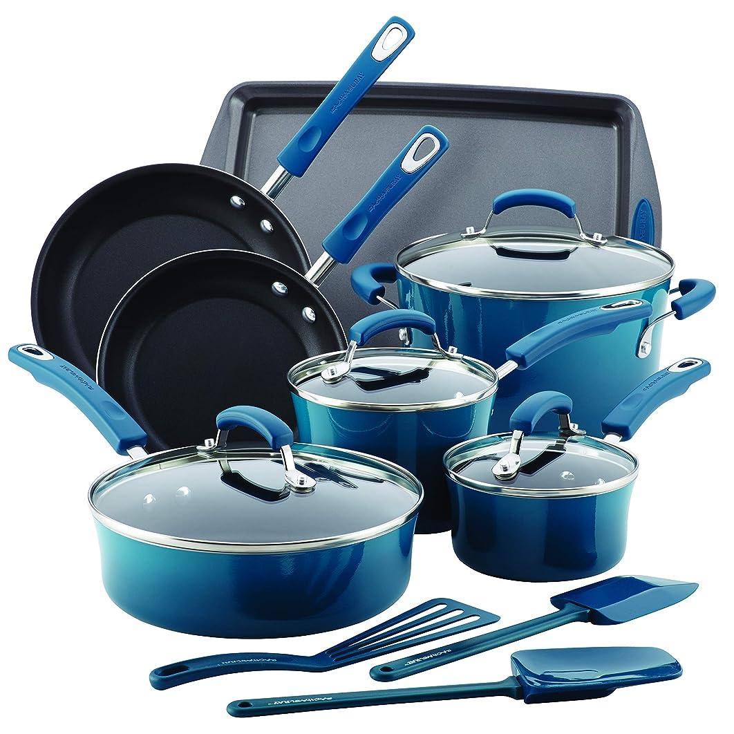 Rachael Ray 17626 14-Piece Aluminum Cookware Set, Marine Blue