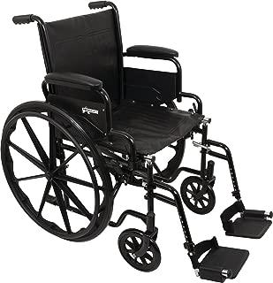 ProBasics Standard Wheelchair - Flip Back Desk Arms - 250 Pound Weight Capacity - Black - Swing-Away Footrest - 18