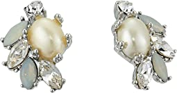 Crystal Glass Pearl Button Earrings