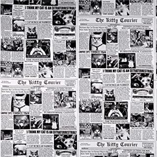 Timeless Treasures Cat News Newsprint Fabric, Black, Fabric By The Yard