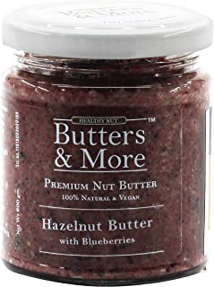 Butters & More Vegan Hazelnut Butter with Real Blueberries (200G) No Artificial Flavours Or Colour. Healthy & Natural Nut ...