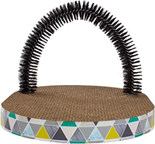 Scratch and Groom Catnip Blasted Cat Scratching Pad with Cat Grooming Brush by Petstages