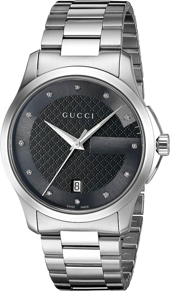 Gucci,orologio g-timeless,in acciaio e quadrante con 12 diamanti YA126456