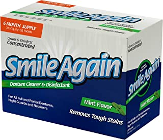 Smile Again Denture, Mouth Guard, Night Guard, Retainer Cleaner and Disinfectant - Mint Flavor - 6 Month Supply …
