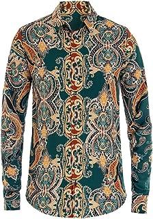 Dettagli su Camicia Mezze Maniche Uomo Colletto Fantasia Barocca Multicolore Fondo Beige