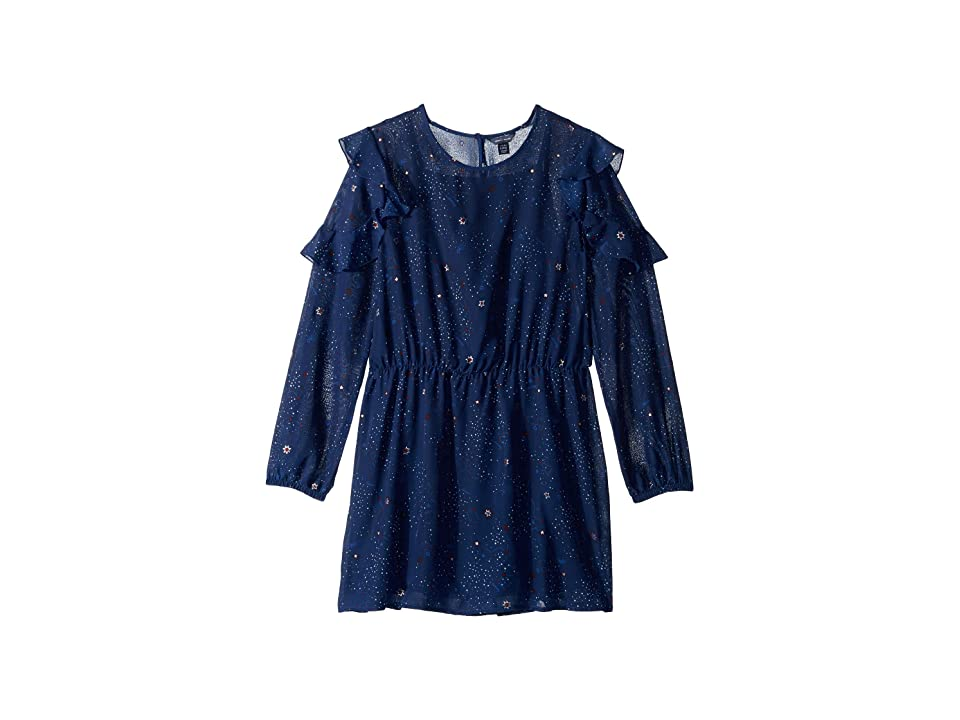 Tommy Hilfiger Kids Printed Chiffon Dress (Big Kids) (Flag Blue) Girl