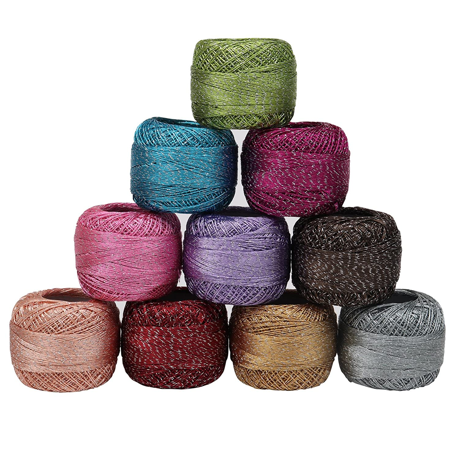 10 x Sparkly Colourful Glitter Cotton Crochet Thread Set by Kurtzy - 92.95 Yards Crafts Knitting Yarn Lace Flowers Skeins Balls - 929.50 Yards Total - Ideal for Beginners or Crochet Enthusiasts tzzzzbtebkefgt