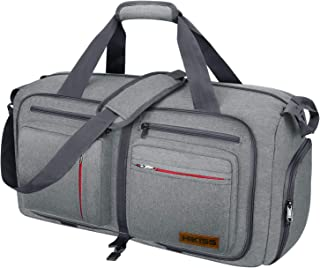 Travel Duffel Bag, 55L Foldable Duffle Bag with Shoes Compartment Packable Weekender Bag for Men Women Water-proof & Tear Resistant HIKISS-Grey