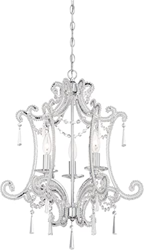 discount Minka Lavery 3152-77 Crystal Mini 1 discount Tier sale Dining Room Chandelier Pendant Lighting, 3 Light, 180 Watts, Chrome outlet sale