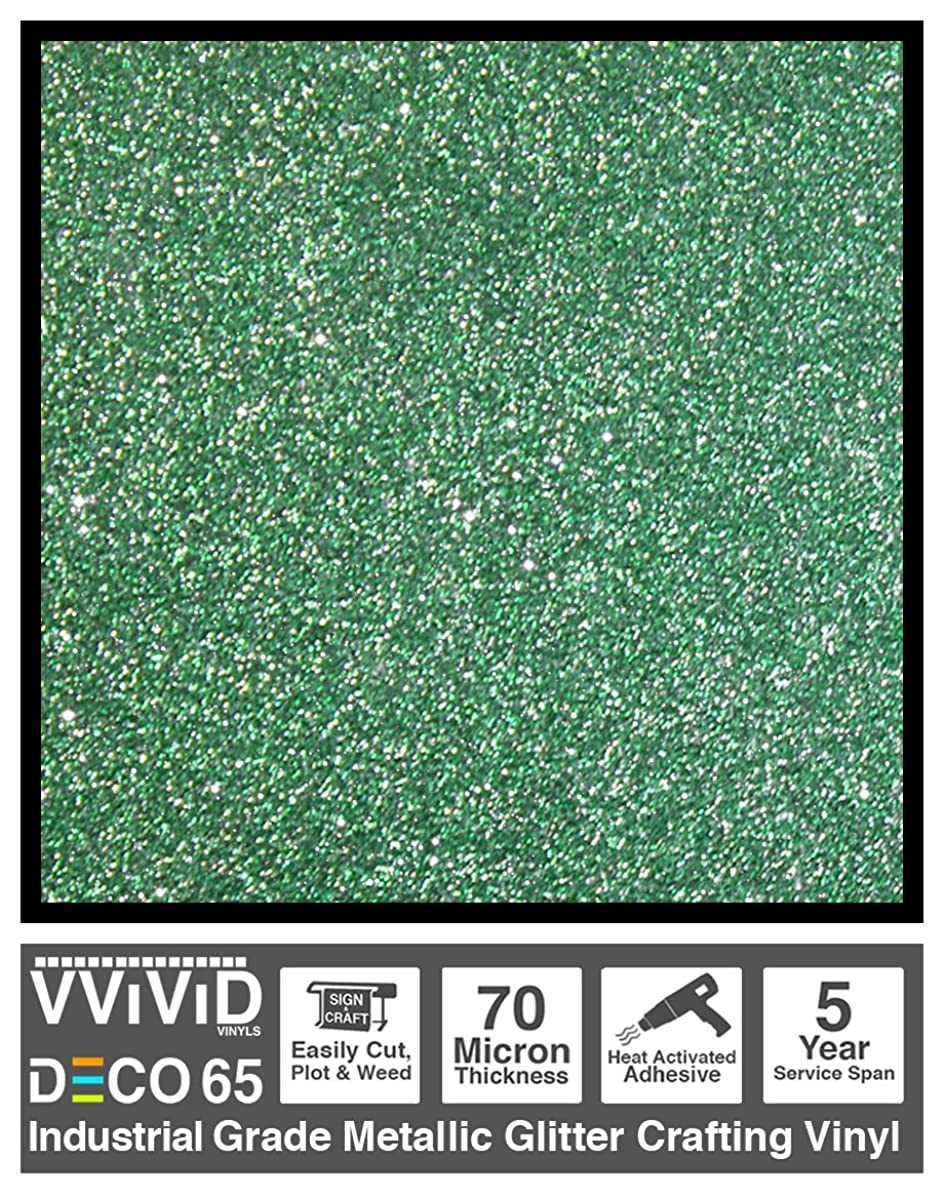 VViViD DECO65 Green Flake Metallic Glitter Adhesive Vinyl 6ft x 1ft Craft Roll for Cricut, Silhouette & Cameo Plotting Machines