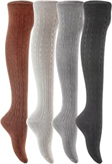 Meso Women's 4 Pairs Over Knee High Thigh High Cotton Socks Size 6-9