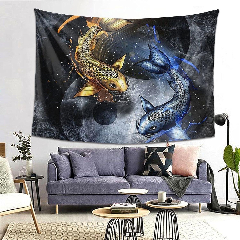 POAA Tapestries Wall Art Tai Ranking TOP14 Marble Yin-Yang Aestheti Ultra-Cheap Deals Fishes Chi
