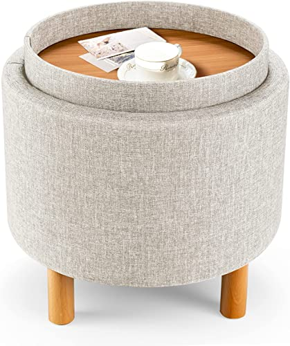 2021 Giantex Round high quality Storage Ottoman with Tray, Accent Storage Footstool w/ Soft new arrival Padding, Fabric Sitting Stool w/ Solid Wood Legs & Non-Slip Pads, Tray Top Coffee Table for Living Room, Bedroom (Beige) outlet online sale