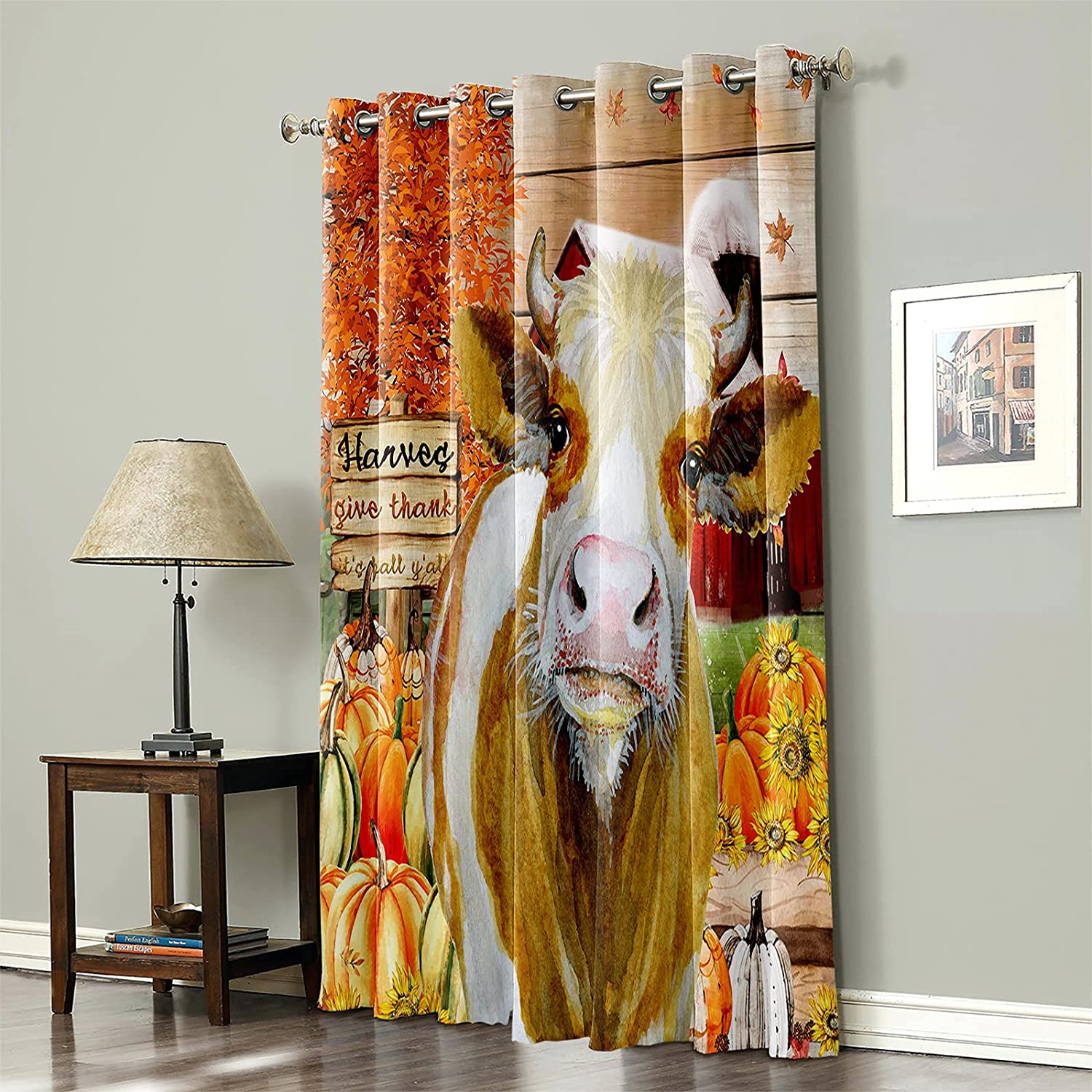 Thanksgiving Blackout Dallas Mall Excellence Curtain for Bedroom Barn Cow Go Farmhouse