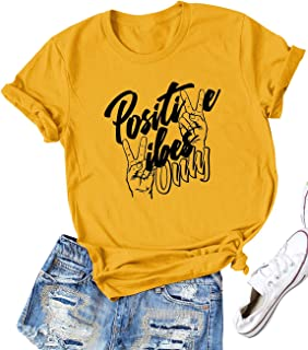 Women Positive Vibes Letter Victory Sign Short Sleeve Casual Tee Shirts