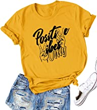 Nlife Women Positive Vibes Letter Victory Sign Short Sleeve Casual Tee Shirts