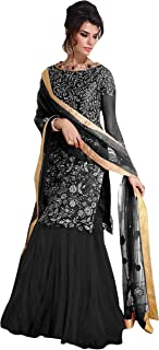 Pop Mantra Women's net straight Salwar Suit Set (EBSFSK256052E_ Black_ Xxx-Large)