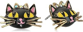 Betsey Johnson Women`s Enchanted Forest Cat Stud Earrings