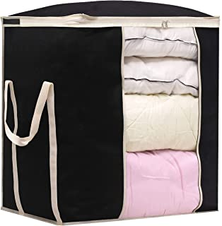 MISSLO Jumbo Comforters Storage Bag for Blankets Clothes Sweaters Beddings Organizer with Reinfored Handles Extra Large Bl...
