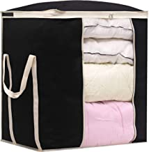 MISSLO Jumbo Comforters Storage Bag for Blankets Clothes Sweaters Beddings Organizer with Reinfored Handles, Fabric, Black...