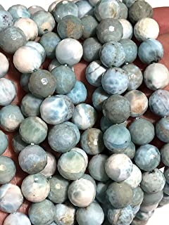 [ABCgems] Rare Dominican Republic Larimar (Exquisite Color- Beautiful Matrix) 10mm Faceted Round Beads for Beading & Jewelry Making