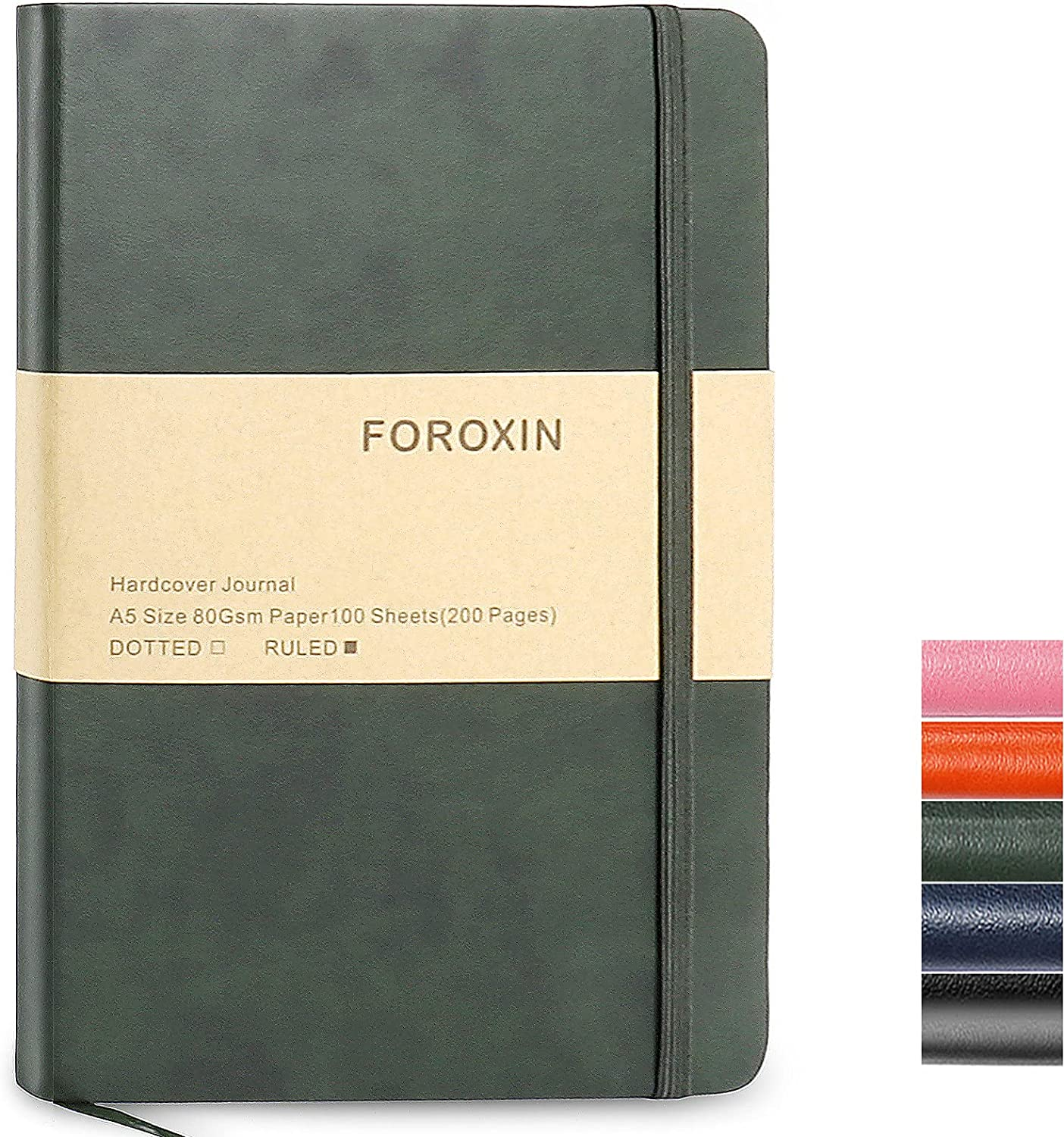 FOROXIN A5 Ruled Journal Notebooks - 8.3' x 5.7' 80gsm Thick Paper, 192 Pages Hardcover Diary with Fine Inner Pocket, Faux Leather Hard Cover Notepad for Women & Men, Dark Green