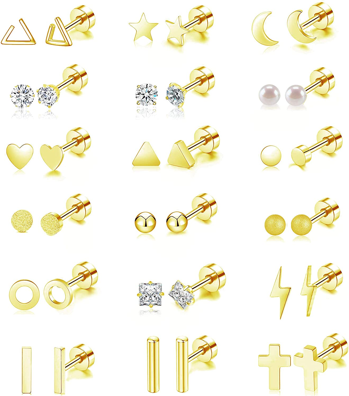 18 Pairs Tiny Cartilage Stud Earrings for Women Star half Award-winning store Tri Set Men