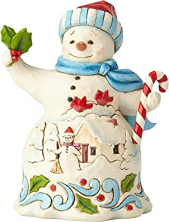 Enesco Jim Shore Heartwood Creek Pint Size Snowman with Candy Figurine, 5.25