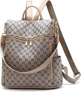 Women PU Leather Backpack Handbag Fashion Checkered Pattern Waterproof Convertible Purse Shoulder Bag