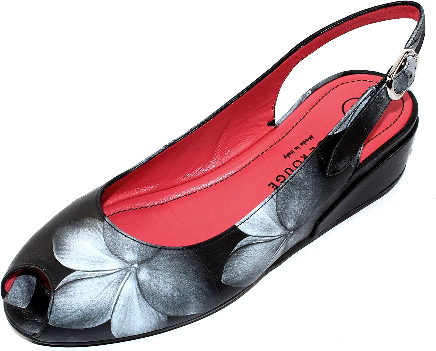 Pas De red Women's Silvia 2362 in Grey-Black Embossed Floral Nappa Leather Black Nappa Leather - Size 39.5 M