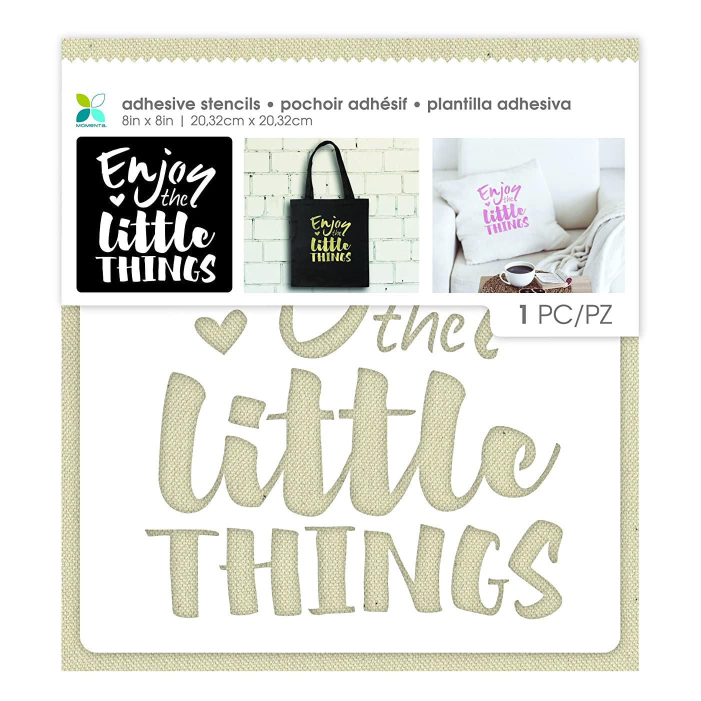 Momenta Enjoy The Little Things Adhesive Fabric Stencil