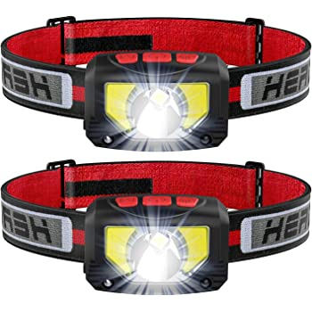 TINMIU Rechargeable LED Headlamp Flashlight, 2-PACK 1000 Lumen Super Bright Motion Sensor Head Lamp, IPX5 Waterproof, Bright White Cree Led & Red Light Perfect for Running, Camping, Hiking & More