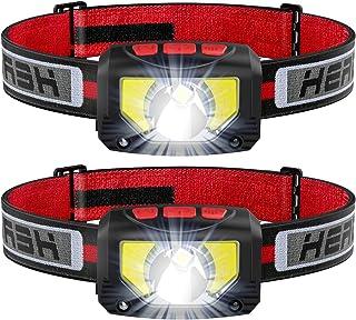 TINMIU Rechargeable LED Headlamp Flashlight, 2-PACK Super Bright Motion Sensor Head Lamp, IPX5 Waterproof, Bright White Cr...
