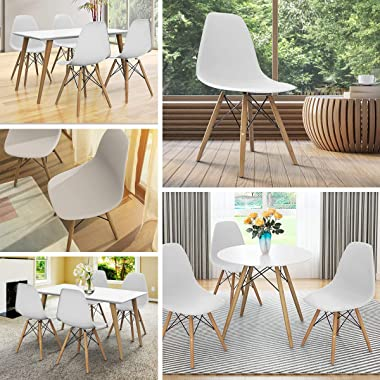 Giantex DSW Chairs, Pre Assembled Mid Century Modern Dining Chairs, with Wood Legs, Armless Kitchen Chairs, Shell Lounge Plas