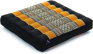 Leewadee cojín tailandés de Suelo – Almohada portátil para meditar, Asiento para Interiores y Exteriores de kapok ecológico, 35 x 35 cm, Naranjo Negro