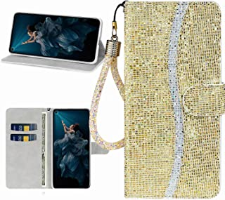 Mylne Bling Sparkle Wallet Case for iPhone XR,Fish Scale Design Glitter Flip PU Leather Cover with Kickstand Magnetic Book Purse Card Slot Holder,Gold