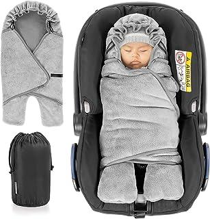 Zamboo Baby Einschlagdecke mit Füßen - Winter - gefütterte Decke für Babyschalen/Autositze passend für Maxi-Cosi, Cybex, Römer und Kinderwagen, mit Kapuze und Tasche - Grau