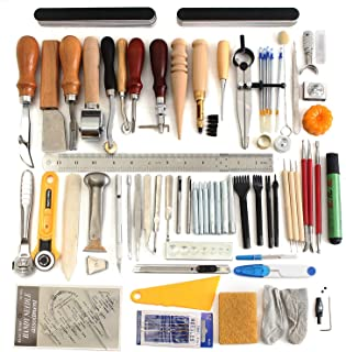 Citian 60 Pieces Leather Craft Hand Tool Including Stitching Groover Basic Hand Stitching Sewing Tool Set Saddle Groover Leather Craft DIY Tool