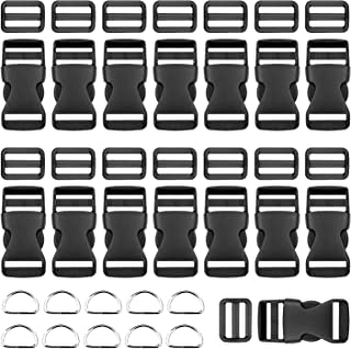 BTNOW Plastic Side Release Buckles 15 Pieces 1 Inch Flat Shape Brand 15 Pieces Tri-Glide Slides for 1 Inch Webbing Strap