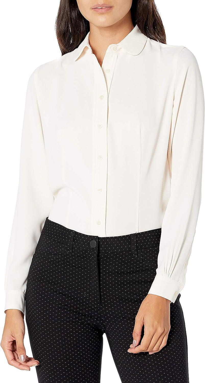 Anne Klein Women's Peter Pan Collar Long Sleeve Button Down Blouse