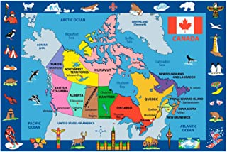 Fun Time - Map of Canada Kids Area Rugs - 8 x 11 ft.