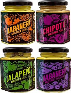 Cranky Rooster Spicy Hot Chili Flavored Mustard Variety Pack Seasoning Gift Set | Jalapeno/Apple, Chipotle/Plum, Habanero/Black Currant, Habanero/Orange | All Natural | Food Gift Sampler | Medium Hot